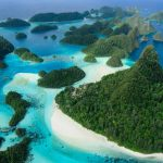 Aerial view of the Wayag island group in the far north of Raja Ampat, West Papua, Indonesia, Pacific Ocean